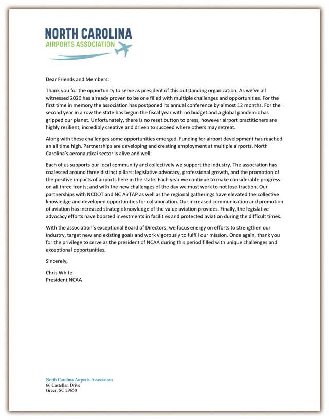 President's Letter on Legislative Affairs