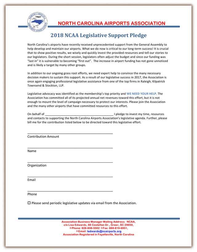 NCAA Legislative Support Pledge