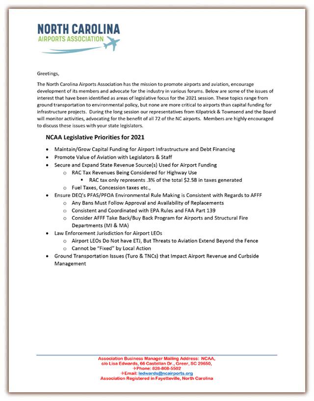 NCAA Legislative Priorities Letter